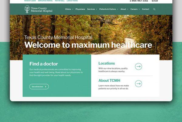 website design SEO Texas County Memorial Hospital by Kettle Fire Creative branding Work tcmh website mockup fi 600x403