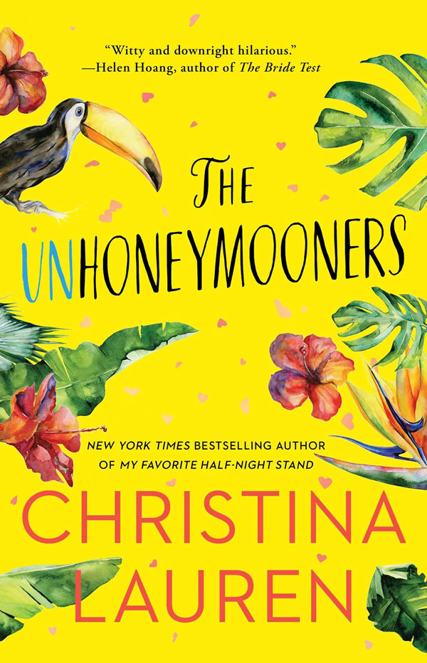 Book cover designs: Best Fiction Cover Art of 2019 by Kettle Fire Creative blog. The Unhoneymooners by Christina Lauren--most playful design book cover design Book Cover Designs: Best Fiction Cover Art of 2019 Unhoneymooners