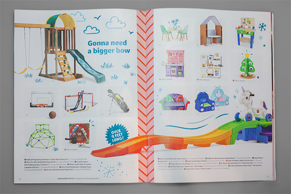 Printed Perfection: Amazon's Toy Catalog Design Makes Us Smile by Kettle Fire Creative. Amazon 2019 Play Together catalog spread.