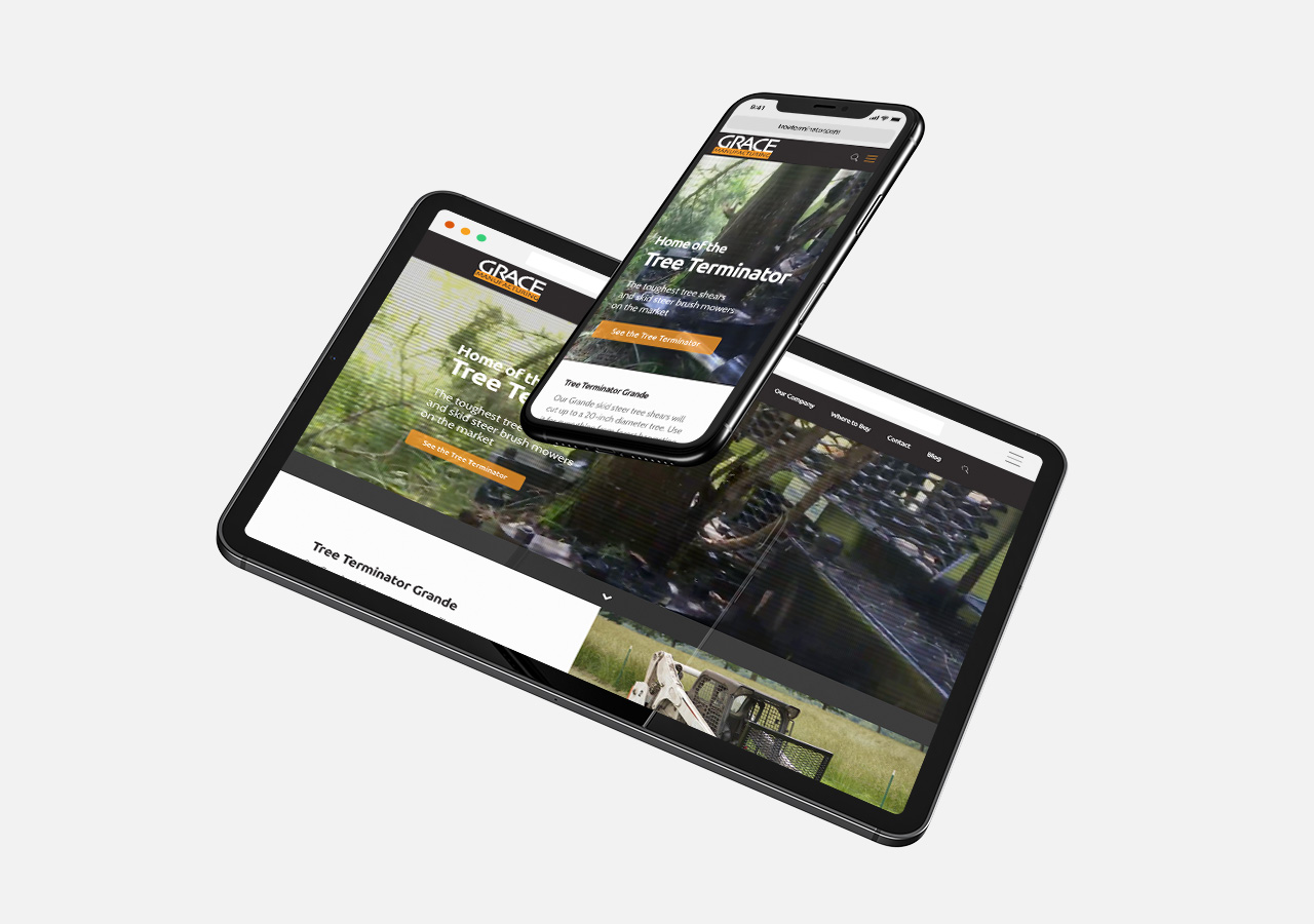 Responsive website design for Grace Manufacturing by Kettle Fire Creative website design Website DesignManufacturer gm responsive mockup