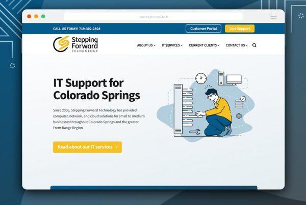 rebrand + web design for Stepping Forward Technology by Kettle Fire Creative branding Kettle Fire Creative – Branding + Web Design Colorado Springs sft fi 600x403