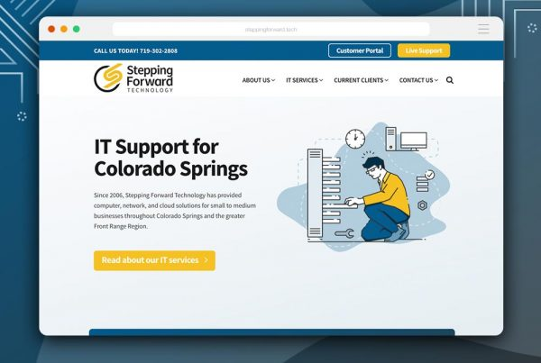rebrand + web design for Stepping Forward Technology by Kettle Fire Creative branding Kettle Fire Creative – Branding + Web Design Colorado Springs sft fi 600x403
