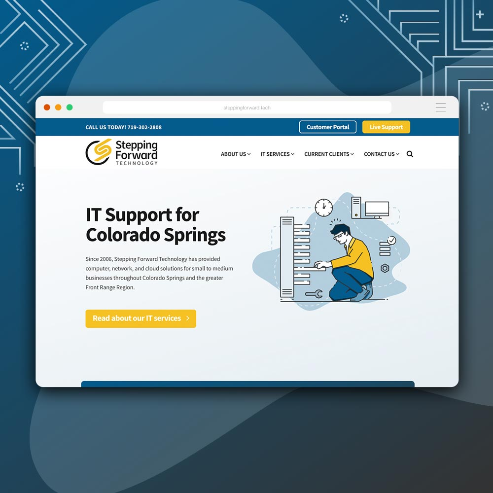 rebrand + web design for Stepping Forward Technology by Kettle Fire Creative branding Kettle Fire Creative – Branding + Web Design Colorado Springs sft fi