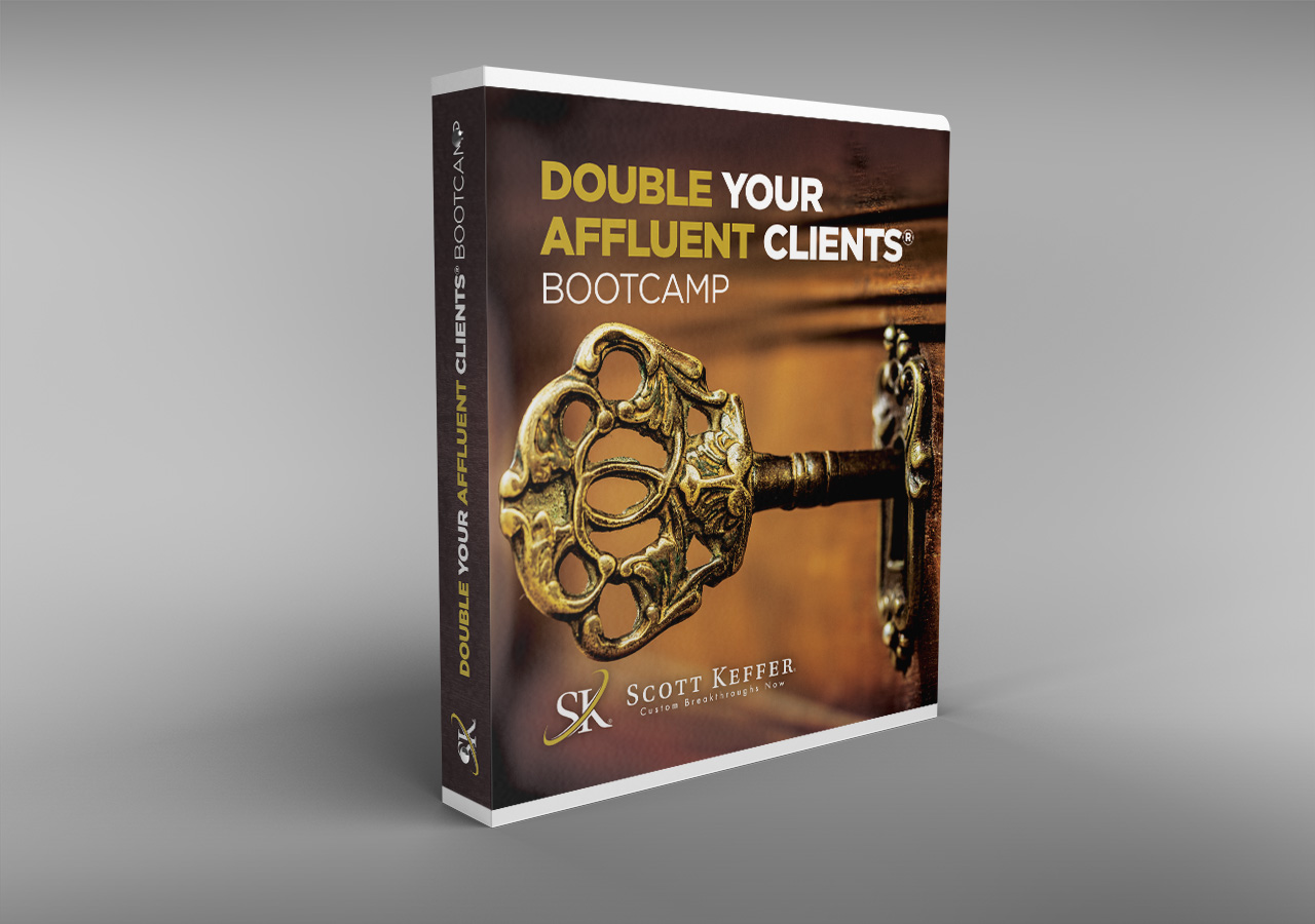 Double Your Affluent Clients bootcamp binder cover by Kettle Fire Creative event collateral Event CollateralPublic Speaker + Coach sk binder mockup