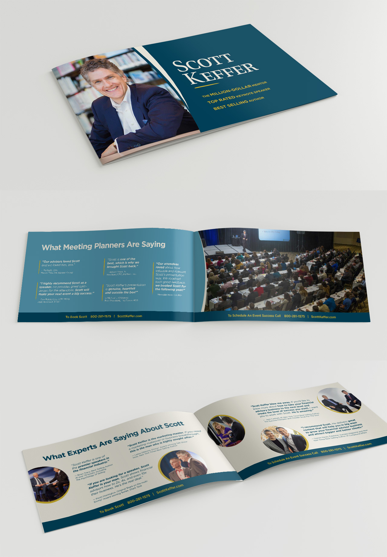 Scott Keffer speaking brochure by Kettle Fire Creative event collateral Event CollateralPublic Speaker + Coach sk booklet mockup