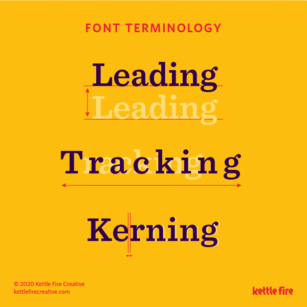 Typography Explained: a quick guide to font terminology by Kettle Fire Creative, leading, tracking, kearning typography Typography Explained: A Quick Guide to Font Terminology font terms 3